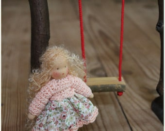 Waldorf play set. Small doll with a swing .Waldorf doll miniature .