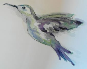Bird Flying Hummingbird-21 x 29.7 cm/8.2 x 11.7 inch-handmade original watercolor-water colour-animal-gift-A4 size