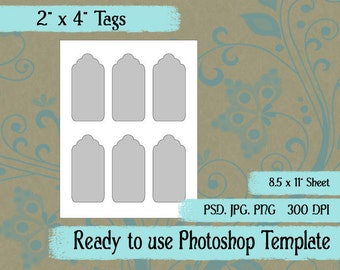 "Scrapbook Digital Collage Photoshop Template, 2"" x 4 "" Tags"