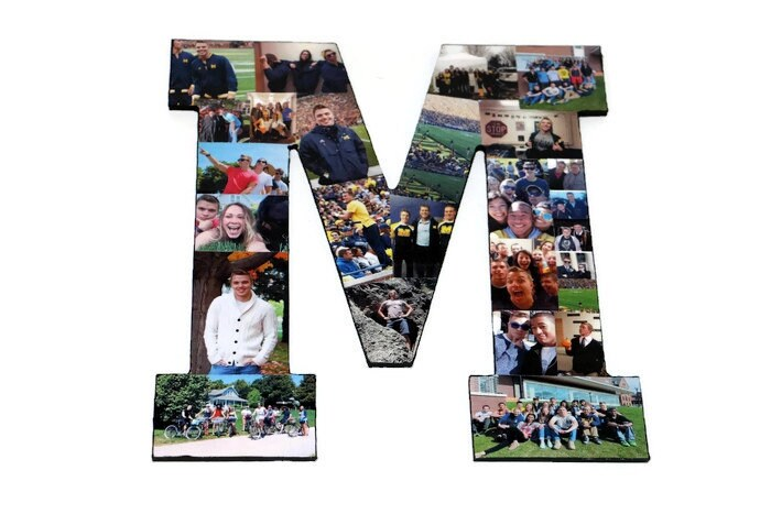 Photo Collage Letter M | Photo Collage frame | Photo Collage Gift ...