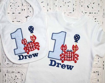 Boys or Girls Crab Birthday Applique SHIRT and BIB Free Personalization-- All birthday numbers are available