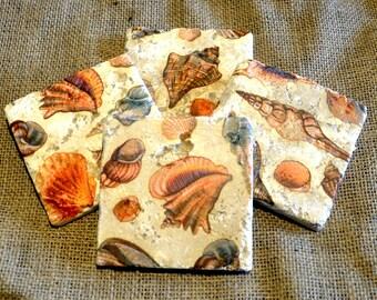 Sea Shells Natural Stone Coaster