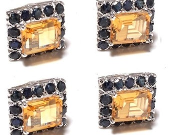 925 Sterling Silver Natural Gem Stone Citrine And Sapphire Button Tuxedo Set
