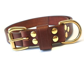 "1"" Rich Brown Chahin English Bridle Leather Dog Collar w/ Solid Brass Hardware and Buckle"