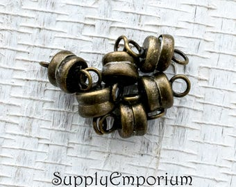 6mm Antique Barrel Magnetic Ball Clasps - Antique Brass Magnetic Clasp - 1239 - Set of 6