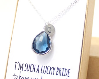 Navy Blue / Silver Teardrop Necklace - Navy Bridesmaid Necklace - Bridesmaid Gift Jewelry - Navy and Silver Necklace - NB1