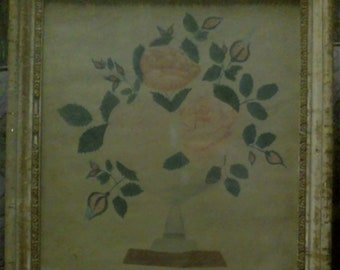 Roses in Vase - Victorian watercolor, artist unknown