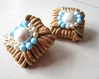 GLAM Vintage DYNASTY Clip On Earrings - Gold - White - Blue - Etsy - Jewelry - Costume - Alexis Colby Carrington - Joan Collins - Large