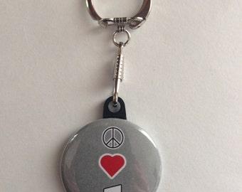 Music Lovers Keychain Handmade Keychain, Music Lover, Headphones, Peace love music, Music