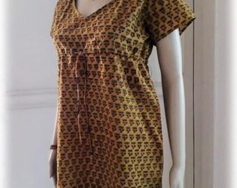 Minimalist ochre mustard yellow mini short dress/Tunic/AJRAKH/Hand block print/India/cotton/XS-S size/Boheme/Minimalist/Gypsy/small flowers