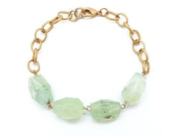 Natural Stone Bracelet, Prehnite Bracelet, Beaded Bracelet, Boho Jewelry, Natural Stone Jewelry, Raw Gemstone Bracelet, Chunky Link Bracelet