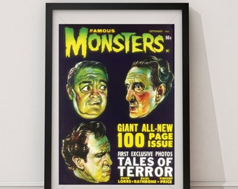 LARGE SIZE Vintage Sci Fi Famous Monsters Comic Book September 1962 / Tales Of Terror Vincent Price, Basil Rathbone, Peter Lorre, Geek Art