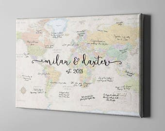 SALE 50% Off Canvas Guest Book, World Map Signature Guest Book, Travel Themed Destination Wedding, Unique Gift for Wedding Couples -  CGB94