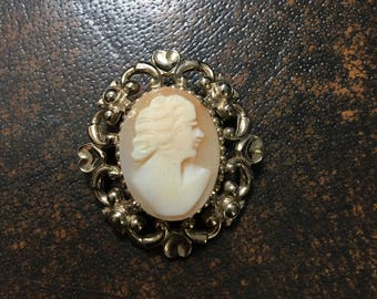 Vintage Shell Cameo Brooch by Coro