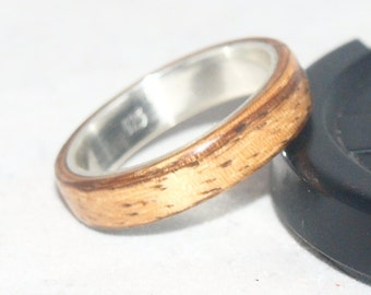 Wooden Rings - Bentwood Zebrano & Sterling Silver Lined Rings Mens Wood Rings, Womens Wood Rings, Wood Engagement Ring, Silver Wedding Ring