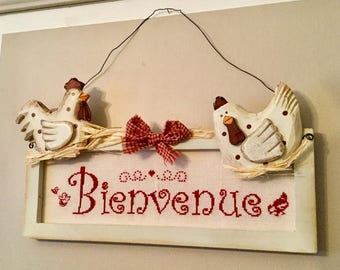 Welcome banner country chicken decor