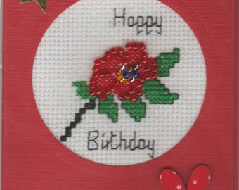 Handmade Beaded and Stitched Red Flower Birthday card. Envelope included.