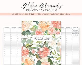 2018 Printable Planner /  Appointment Devotional Planner 2018 / Faith Planner Printable / Appointment / Weekly Layout