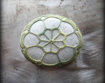 Lace Stone, Crocheted, Table Decorations, Original, Handmade, Home Decor, Variegated Green Thread, Light Gray, Collectible, Unique, Monicaj