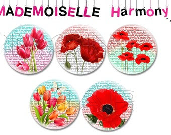 20 mm tulips and poppies 5 glass cabochons size 20 mm cabochons