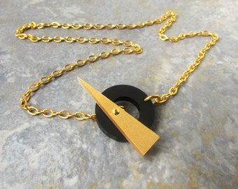 Gold Choker Necklace – Gold Statement Necklace – Gold T Bar Necklace – Choker Necklace Gold – Laser Cut Acrylic – Birthday Gifts for Her