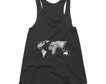 World Map Racerback Tank, Tank Tops For Women, Womens Top, American Apparel, Fitness Tank, Workout Tank, Boho Clothing, World Map Art, Gift