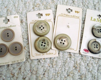 Beautiful Sand, Oat or Beige  Vintage Two and Four Hole Buttons on Cards, 8 buttons