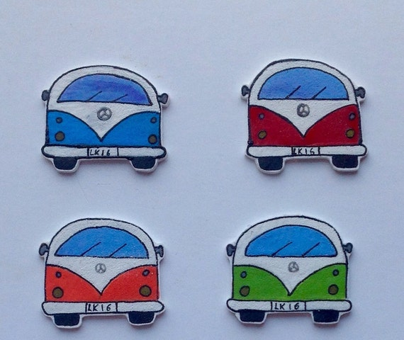Retro Campervan Fridge Magnets Set of 4 Personalised Options Available, Wedding Favours