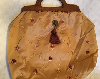 Large Knitting Tote Bag - Vintage Inspired - Gold & Rust Light Weight Shimmery Floral Fabric