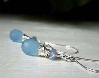 Pale Blue Earrings, Light Blue Chalcedony Earrings Sterling Silver, Aqua Chalcedony Earrings,  Light Blue Gemstone Earrings, Teardrop Dangle