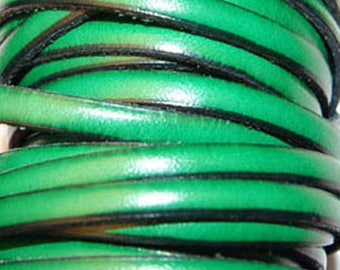 Leather Strip 5 mm spring green, sold by 20 cm