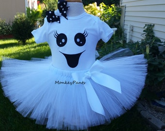 Girl Ghost Costume  - Ghost Tutu Outfit - Baby Girl Ghost Costume - Halloween Costume Girl
