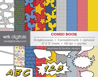 Comic Book Seamless Digital Paper Pack, Digital Scrapbooking, Instant Download, Superhero, Comics