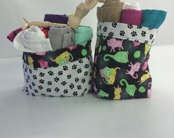 Purr-fectly Pawed Cat Reversable Cloth Baskets