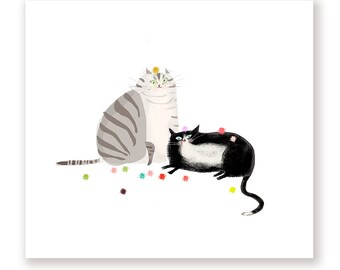 Cat Balls- Sunday Funday - Cat Print - New Cat Art - Modern Art