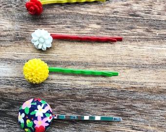 Flower bobby pins, girls bobby pins, bobby pin set, flower hair pins, bobby pin flower, red flower hair clip, bobby pins for women, rts gift