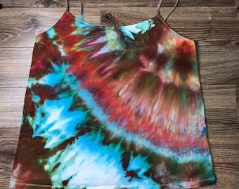 3X 22w-24w Womens Plus Size Camisole Cami Tank top hand dyed ice dye tie hippie ooak