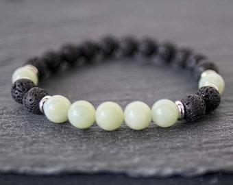 Energy balance bracelet Mens black bracelet Lava bracelet mens Amazonite bracelet Zen bracelet for men Protection bracelet Men mala bracelet