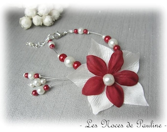 Burgundy and ivory wedding flower satin bracelet Julia has