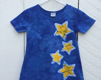 Girls Star Dress, Yellow Star Dress, Toddler Girls Dress, Blue Girls Dress, Celestial Girls Dress, Twinkle Twinkle Little Star Dress (2T)