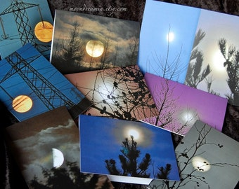 Moon Art Cards set, pack of 5 Blank Photo Note Cards, Lunar Landscape, Full Moon, Christmas Trees, Solstice Yule Christmas Cards,