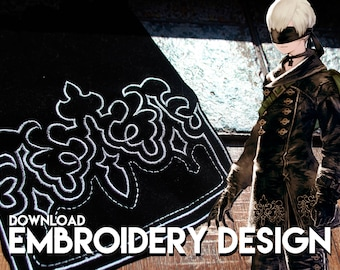 9S Nier Automata cosplay costume embroidery design