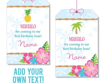 EDITABLE INSTANT DOWNLOAD Luau Favor Tags - Luau Party Favors - Editable, printable birthday party favor tags