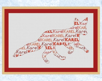 Personalised cross stitch pattern, custom design with name, personalized, customised, birth sampler, baby, child girl boy, modern silhouette