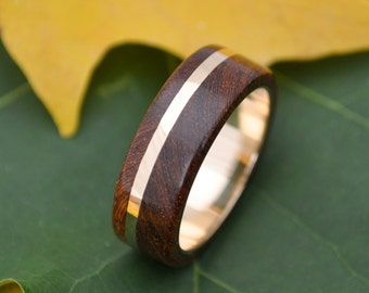 Size 7.75 READY TO SHIP Gold Solsticio Oro Nacascolo - all 14k yellow gold inlay and inner band with wood ring
