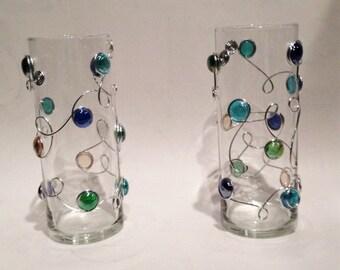 Hurricane Vase-Beaded, Wire Wrapped, Bouquet Vase, Home Decor, Flower Vase, Wedding Centerpiece, Centerpiece, Rustic Vase, Wedding Table