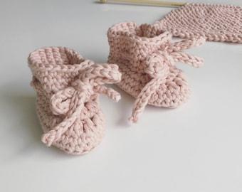 Oscar booties, handmade crochet baby booties in wool or cotton