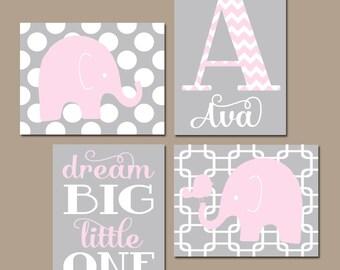 Girl ELEPHANT Nursery Art, Pink Gray Elephant Nursery Wall Art, Baby Girl Nursery Decor, Dream Big Little One, CANVAS or Prints Set of 4