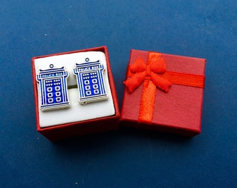 Dr Who TARDIS Police Call Box Cufflinks Set~Free Domestic Shipping!!!