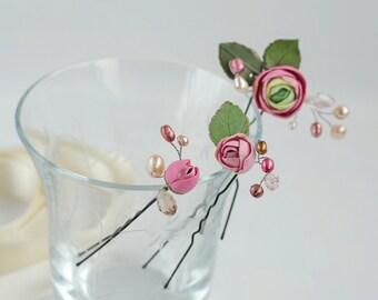 Flower hair pins set Accessory bridal Wedding hair set Bridal hair pins set Pearl accessory hair Bridesmaid hair pins Wedding accessories